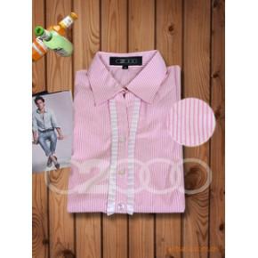 斜纹衬衫布 V领 木耳边 职业衬衫 独特、时尚衬衫