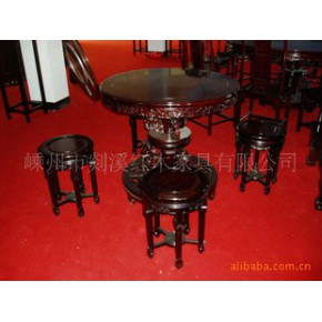 红酸枝圆古桌 椅/凳 实木