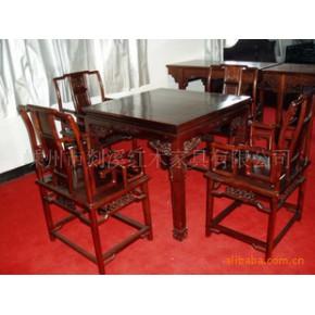 红酸枝方桌 桌子 实木 楼阁亭榭