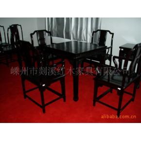 黑檀小方桌 桌子 实木 山水花卉