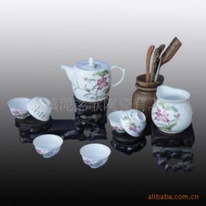 景德镇粉彩 秞中彩8头茶具套装日用陶瓷-金荷花