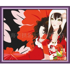 厂家直销 批发加盟/DIY数字油画/无框画/装饰画/圣诞红40x50cm