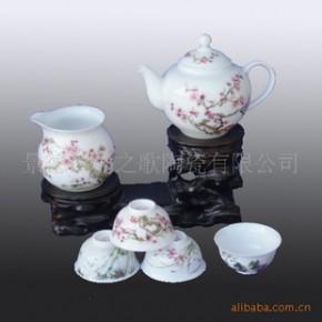 景德镇骨瓷粉才6头功夫套装茶具-梅兰竹菊