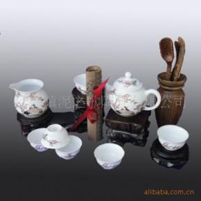 景德镇陶瓷茶具 骨瓷  釉中彩 8头金鹤茶具