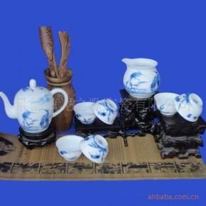 【青花鹭栖】青花瓷 釉中彩茶具 8头套装 日用陶瓷