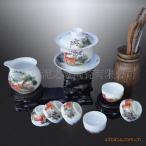 【粉彩梅花鹿】粉彩茶具 釉中彩 骨瓷8头茶具
