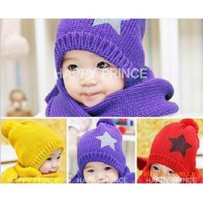 韩国冬季针织帽 五角星款 帽子+围巾套装 五星帽围巾 儿童冬帽