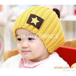 五星帽 2010韩国火爆糖果色 时尚 五星贴标 毛线帽
