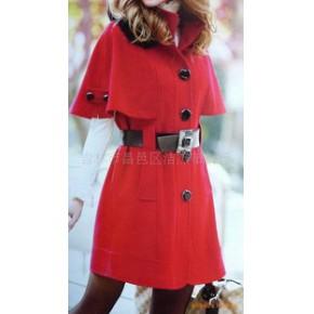 杰杰2010韩版时尚半袖休闲羊绒大衣
