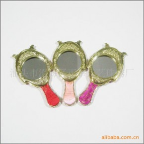 批发供应 织锦 电镀 化妆镜 手提化妆镜 中式风格