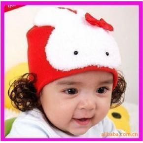 韩国进口/原单 一只大兔子假发婴儿帽子/儿童帽子/假发帽