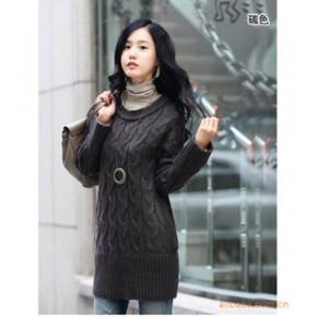2011秋装新款 韩版长款圆领毛衣1420