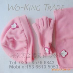[圣诞]儿童绣花抓绒保暖套装-帽子围巾手套三件套