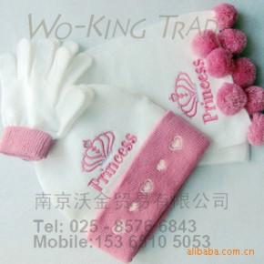 [2010新款]可爱公主princess冬季保暖防风三件套(帽子手套围巾)