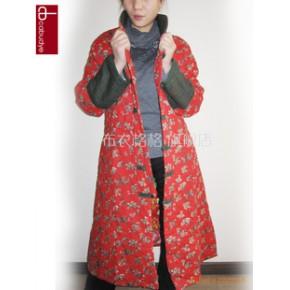 批发 2011秋冬女装 中式田园风长款大衣棉衣外套10546