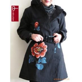 2011秋冬新 原创时尚手绘 修身加长款棉衣大衣风衣 大码