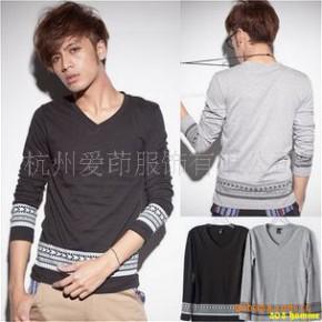 TC0147男式韩版春款复古经典印花长袖T恤