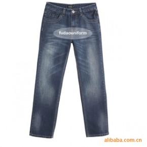 订做水磨蓝宽松双插袋加厚耐磨牛仔裤