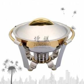 不锈钢圆型镀金餐炉