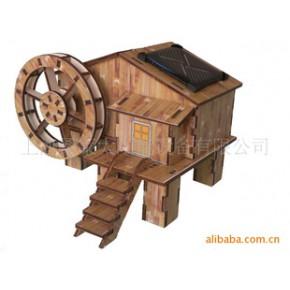 太阳能 古式水车 拼装 绿色 环保
