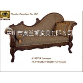 实木加布艺软体欧式贵妃榻,欧式古典贵妃椅