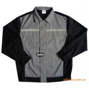 批量定做涤棉细斜单层拼色带反光条夹克