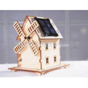 太阳能 风车小屋 教学模型 拼装 绿色 环保   原色