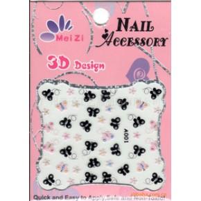 厂家大量供应2D/3D指甲贴,蕾丝夜光指甲饰品,贴纸,亦可来样设计