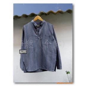 直供男装手工扎染民族风格纯棉手织布条纹木扣上衣
