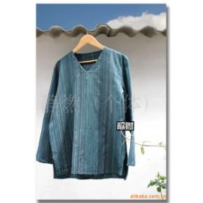 【男装】手工扎染民族风格休闲纯棉手织布条纹V领T恤
