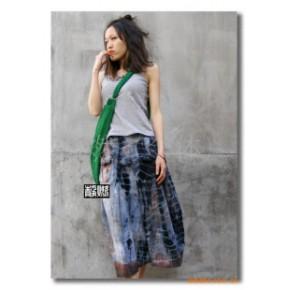 和风设计泼墨扎染半身中长裙