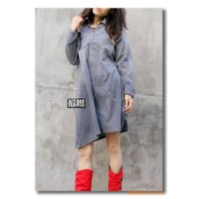 原创设计田园风格纯棉方领加长衬衫连衣裙