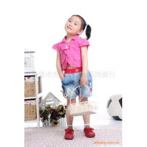 童装牛仔裤 20110女童短裤批发 定单生产 1205大红