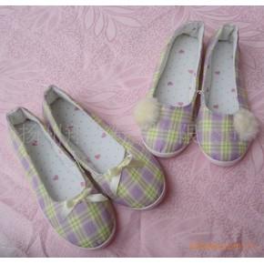外贸 家居地板拖鞋/月子鞋/包跟单鞋 紫色格子
