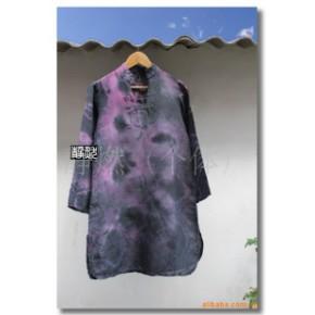 手工扎染原创中式棉麻传统越南式衫