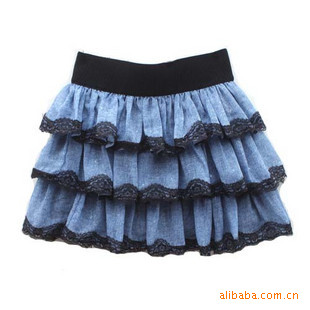 2011新款春夏韩版蕾丝花边旧牛仔闪光短裙半身裙公主