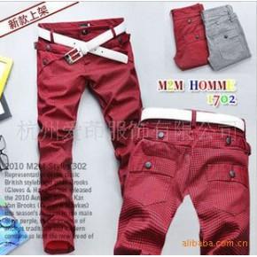 TC0361男式韩版超酷个性腰间设计细格休闲裤