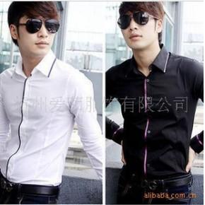 TC0366男式韩版型男帅气亮色镶边长袖衬衫