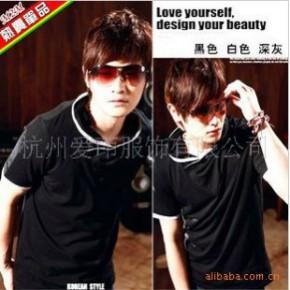 TC0395男式韩版时尚撞色修边修身短袖T恤