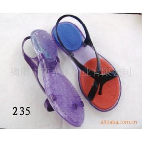 2011精美凉鞋 平跟凉鞋 时尚靓丽撞色
