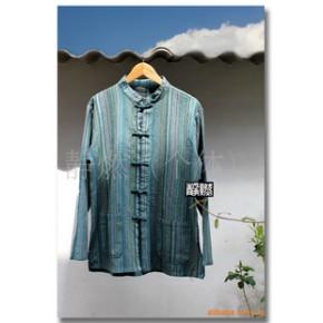 手工扎染民族风中式复古手织布条纹对襟盘扣衫