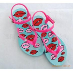 沙滩凉鞋 彩色图案印底凉鞋 外贸凉鞋