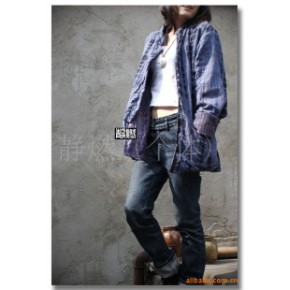 【男装】手工扎染民族风中式休闲纯棉两面穿外衣外套