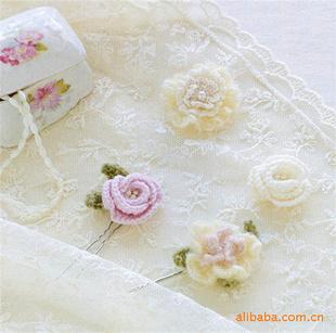 提供手工钩针编织日韩风甜美饰品 发圈发针发饰 多款
