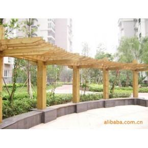 防腐木联排长廊。美观实用 。免费设计,免费测量
