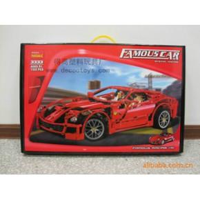 得高2011新品 1:10法拉利 599GTB跑车 拼装积木