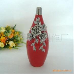 鸿祥陶瓷25CM中国红花瓶