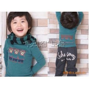外贸童装批发代理销混批发品牌童装女男儿童长袖T恤小熊日韩品牌