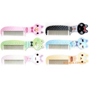 明利包包宝铁梳系列 B套美发密齿铁梳 可爱卡通塑料梳 美发梳