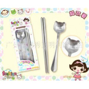 明利旗下丑妞餐具系列 卡通不锈钢餐具套装 环保便携卡通勺子筷子